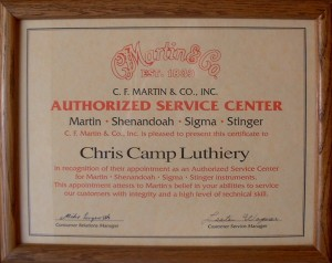 Camp Music - Fretted Instrument Repair and Restoration - C. F. Martin Certification